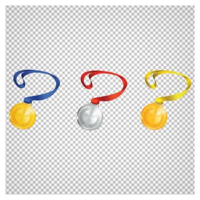 دانلود تصویر دوربری شده مدال های طلا و نقره بند دار با فرمت پی ان جی