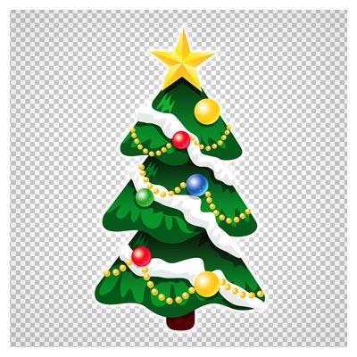 دانلود کلیپ آرت درخت کریسمس ستاره دار بدون پس زمینه