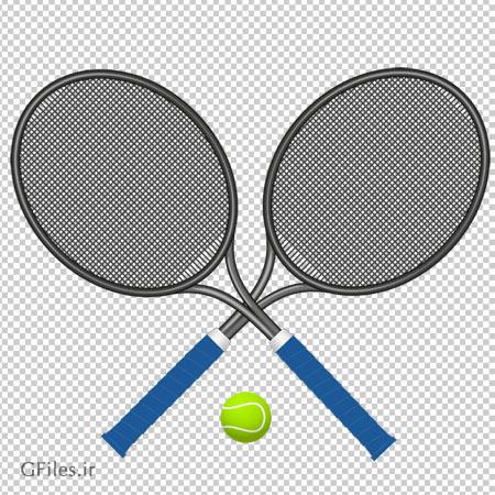 کلیپ ارت توپ و دسته های تنیس دوربری شده و بدون بکگرند