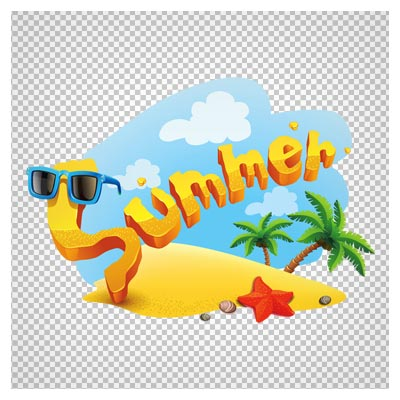 تصویر کلیپ آرت طرح جزیره لوگو summer (تابستان) با فرمت png و فاقد بکگرند