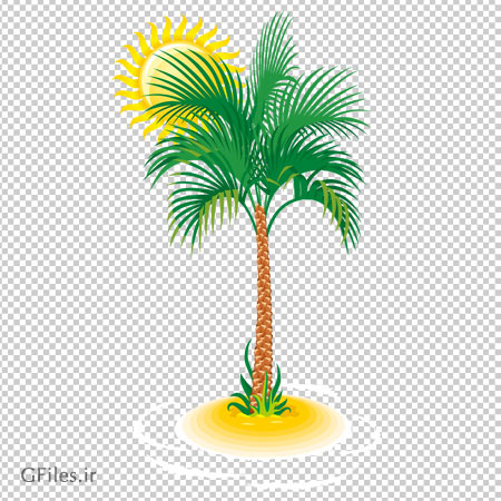 کلیپ آرت خورشید و درخت نخل ( خرما ) با فرمت پی ان جی و فاقد بکگرند