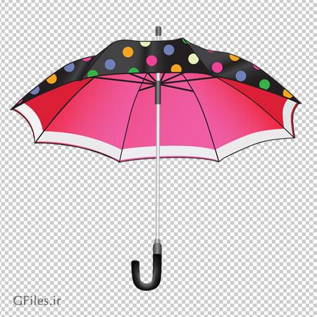 کلیپ آرت چتر سیاه خال خالی و تو قرمز با فرمت پی ان جی و بدون پس زمینه