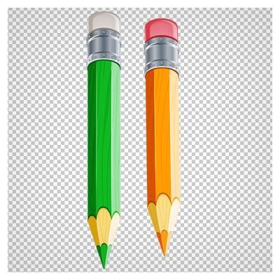 فایل کلیپ آرت دو مداد رنگی سبز و نارنجی پاک کن دار دوربری شده و بدون پس زمینه