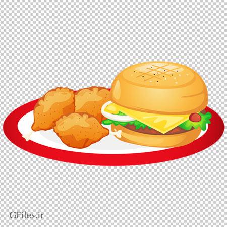 تصویر کلیپ آرت ساندویچ همبرگر و مرغ سوخاری سه تکه دوربری شده