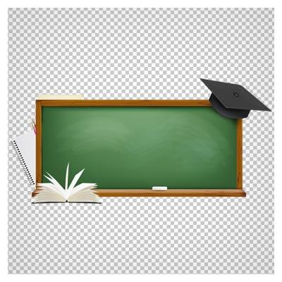 تصویر تخته سیاه مدرسه و وسایل تحصیل با فرمت png و فاقد بکگرند