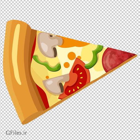 کلیپ آرت یک تکه پیتزا با فرمت پی ان جی و بدون پس زمینه