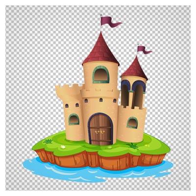 کلیپ آرت دوربری شده قلعه کوچک میان جزیره با فرمت پی ان جی