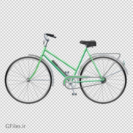 تصویر دوچرخه قدیمی سبز رنگ دوربری شده