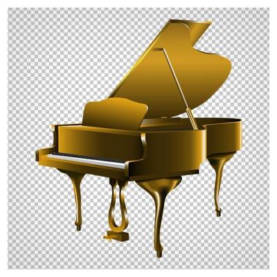 دانلود کلیپ آرت پیانو طلایی با فرمت پی ان و فاقد بکگرند