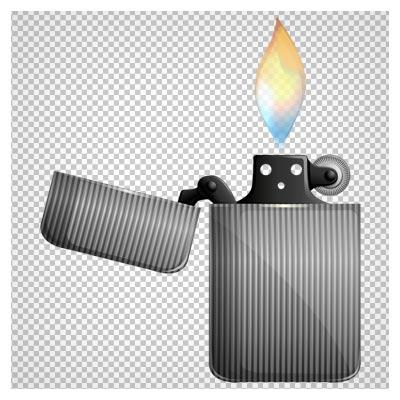 تصویر کلیپ آرت فندک فلزی درب دار روشن بدون پس زمینه با فرمت پی ان جی