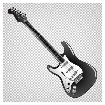 کلیپ آرت گیتار مشکی الکتریکی با فرمت پی ان جی