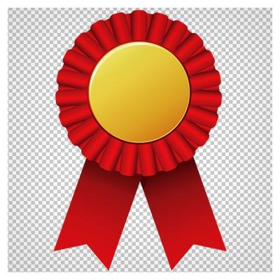 کلیپ آرت مدال طلا با تزئین روبان قرمز با فرمت پی ان جی و فاقد بکگرند