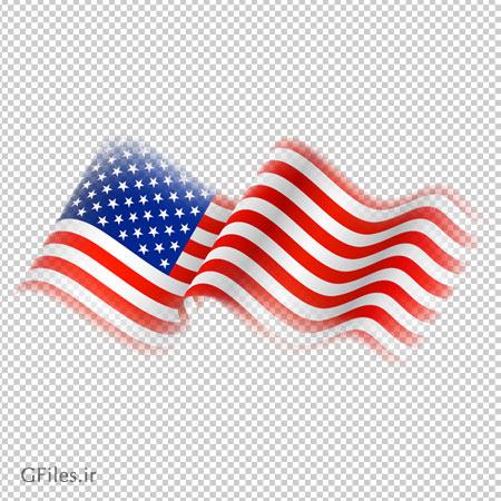 کلیپ آرت پرچم موج دار آمریکا با پسوند پی ان جی و فاقد بکگرند