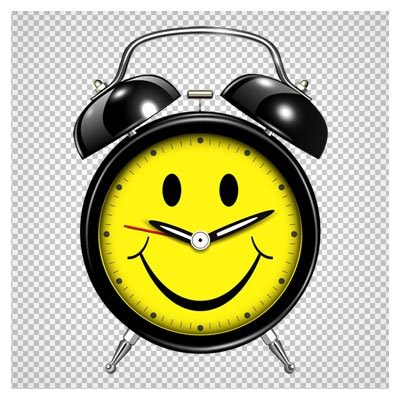 دانلود کلیپ آرت ساعت زنگدار قدیمی شکلک دار به صورت فایل ترانسپرنت