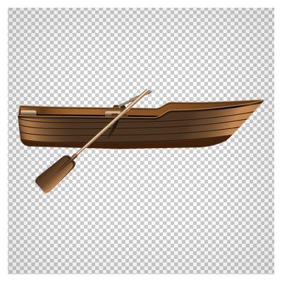 تصویر کلیپ آرت قایق چوبی پارو دار با فرمت پی ان جی و فاقد بکگرند