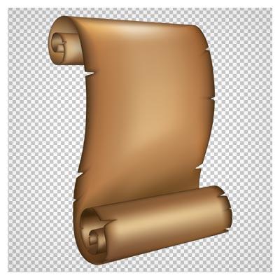 تصویر کلیپ آرت تومار قدیمی پوستی بدون متن به صورت فایل ترانسپرنت و فاقد بکگرند