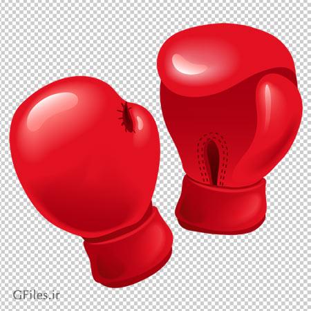 تصویر دوربری شده دستکش قرمز رنگ بکس با فرمت png