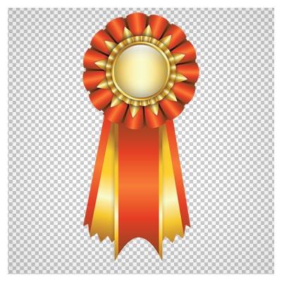 تصویر مدال طلا تزئین شده با روبان طلایی و قرمز با پسوند پی ان جی