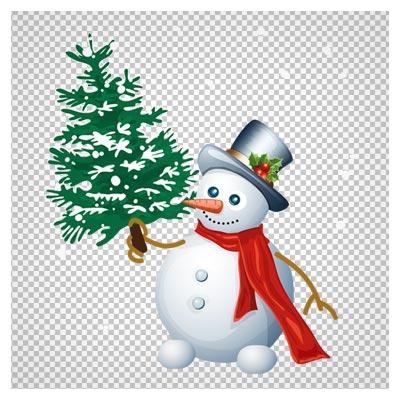 دانلود کلیپ آرت آدم برفی کریسمس و درخت کاج با فرمت پی ان جی