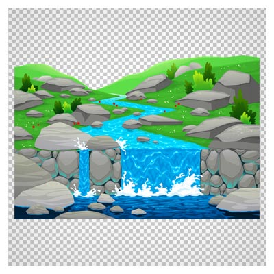 کلیپ آرت آبشار کوچک در علفزار به صورت فایل ترانسپرنت