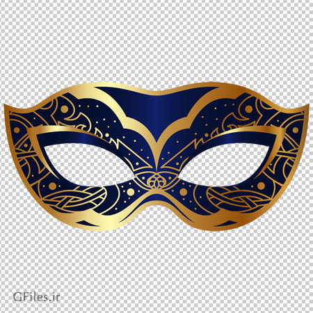 تصویر کلیپ آرت ماسک طرح دار سورمه ای چشمی با پسوند پی ان جی
