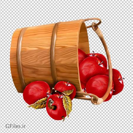 تصویر سطل پر از سیب قرمز با فرمت پی ان جی و فاقد بکگرند