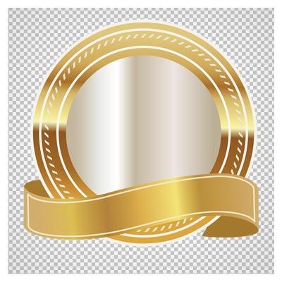 تصویر لیبل دایره ای با کادر طلایی به صورت فایل ترانسپرنت و فاقد بکگرند