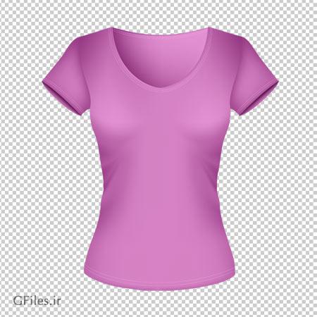 عکس تی شرت صورتی زنانه آستین کوتاه با پسوند پی ان جی