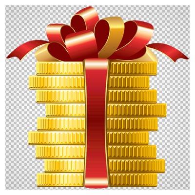 کلیپ آرت سکه های طلایی بسته شده با روبان