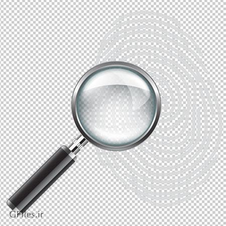 دانلود فایل کلیپ آرت اثر انگشت و ذره بین با پسوند png و فاقد بکگرند