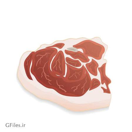 طرح وکتوری لایه باز تکه گوشت قرمز (گوشت گوساله) با دو فرمت ai و eps