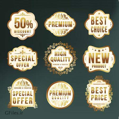 دانلود فایل وکتور مجموعه لیبل های طلایی با پس زمینه مشکی (لایه باز eps و ai)