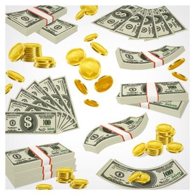 دانلود فایل با کیفیت برداری (وکتور) مجموعه سکه و دلار