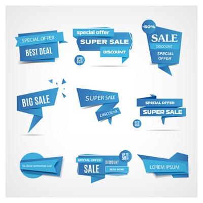 دانلود سری لیبل های فروش ویژه با رنگ آبی به صورت فایل وکتوری