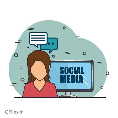 دانلود فایل وکتور پس زمینه با طرح ارتباطات اجتماعی ، اخبار و گفتگوی خبری