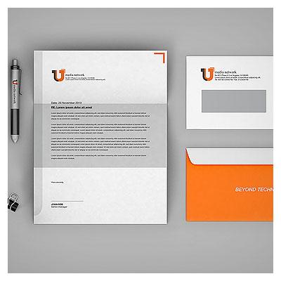 موکاپ لایه باز پاکت نامه ملخی (کوچک) و سربرگ (رزومه A4) با فرمت PSD