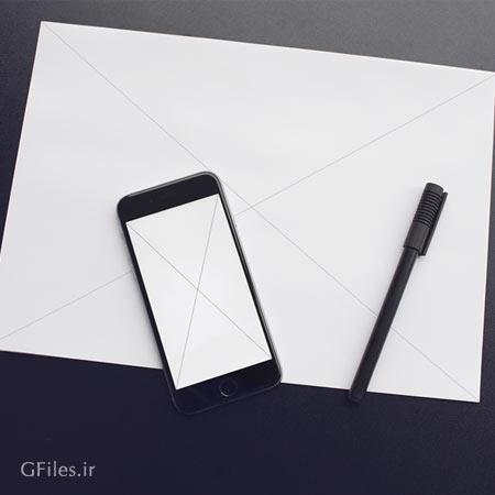 موکاپ سربرگ A4 و گوشی موبایل با فرمت PSD