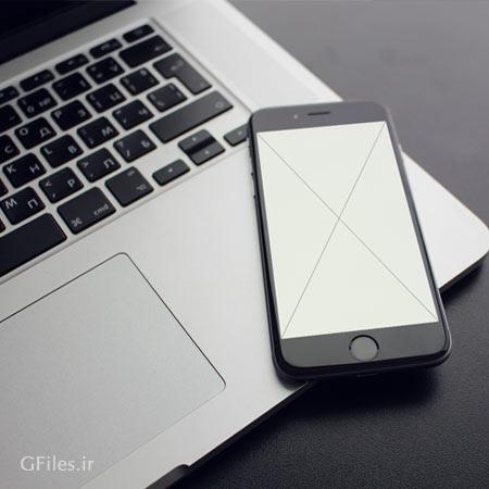 فایل PSD پیش نمایش (Mockup) نمایش طرح یا ui روی مانیتور تلفن همراه