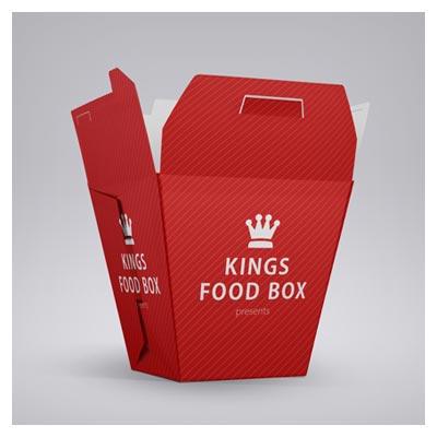 موکاپ لایه باز (psd) سه طرح متنوع از جعبه فانتزی مواد غذایی و خوراکی