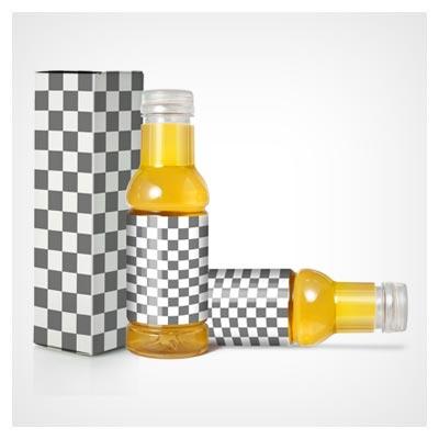 موکاپ لایه باز شیشه آبلیمو و نوشیدنی (آبمیوه) همراه با جعبه ، در سه حالت مختلف