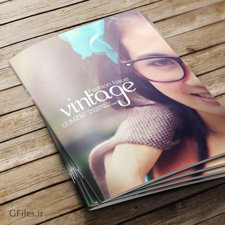 فایل پیش نمایش (Mockup) جلد مجله بصورت سه بعدی (psd لایه باز)