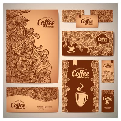 دانلود فایل وکتور ست اداری با طرح قهوه با المان های swirl