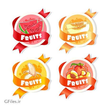 دانلود لیبل های چهار میوه مختلف به صورت فایل وکتور