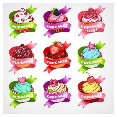دانلود فایل وکتور مجموعه لیبل کیک با طعم های مختلف و طرح آبرنگی