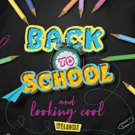 تصویر با کیفیت وکتوری پس زمینه بازگشت به مدرسه با طرح مداد های رنگی