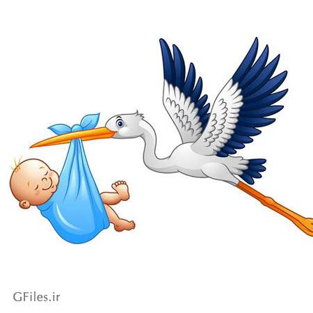 دانلود فایل وکتور لک لک و نوزاد با کیفیت بالا