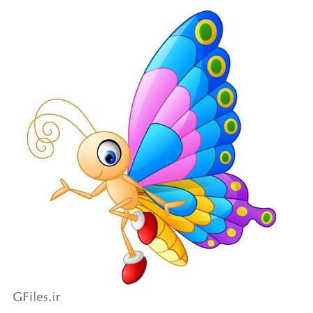فایل برداری پروانه رنگارنگ با کیفیت بالا ، با دو فرمت eps و ai