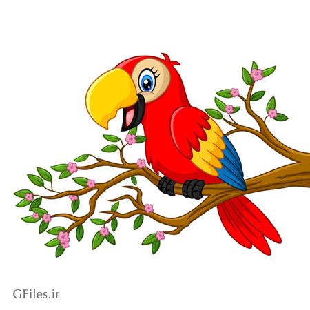 تصویر طوطی قرمز کارتونی به صورت فایل وکتوری