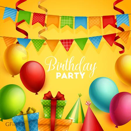 دریافت فایل برداری پس زمینه زرد رنگ جشن تولد با طرح بادکنک و روبان