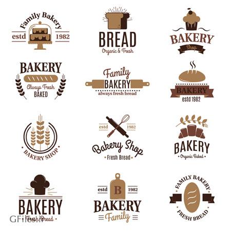 فایل وکتور سری لیبل های نانوایی (لوگو و سمبلهای نان) با کیفیت بالا